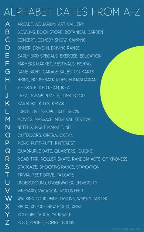 alphabet dating ideas creative date night ideas