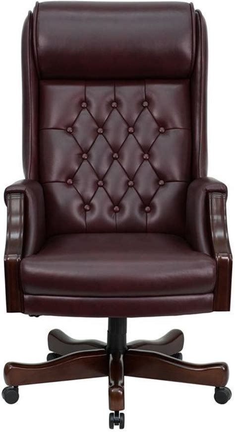 embroidered high back traditional tufted burgundy leather