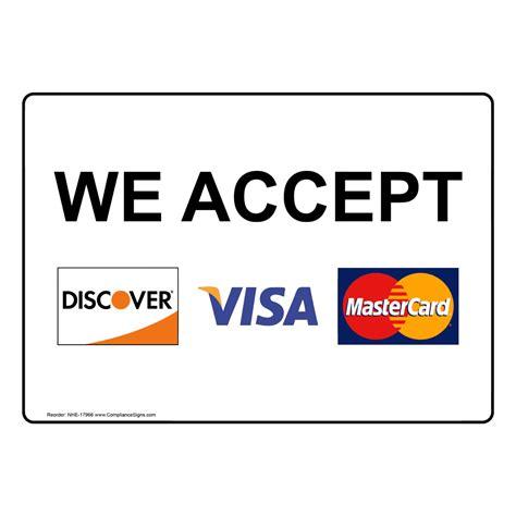 accept discover visa mastercard sign nhe
