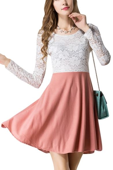 White Lace Top and Pink Skirt Long Sleeve Dress - Beautifulhalo.com