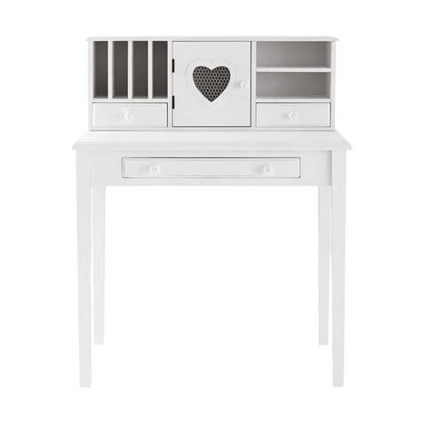 bureau bois blanc bureau secrétaire en bois blanc maisons du monde