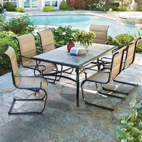 patio table with 6 chairs hton bay belleville 7 piece padded sling outdoor dining