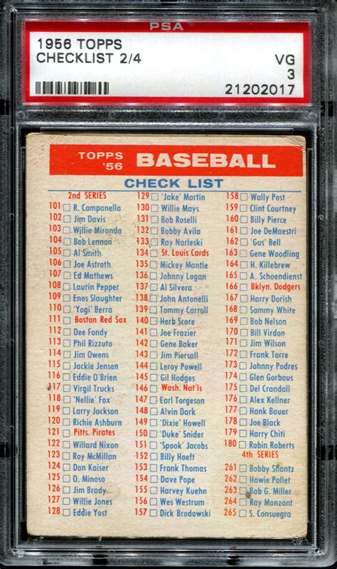 Get trading cards products like topps now, match attax, ufc cards, and wacky packages from a leading sports card and entertainment card creator at 2019 topps baseball inception checklist. 1956 Topps Baseball Checklist 2/4 PSA 3 (VG) *2017 | DA ...