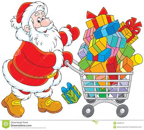 santa with a shopping cart of gifts stock vector image
