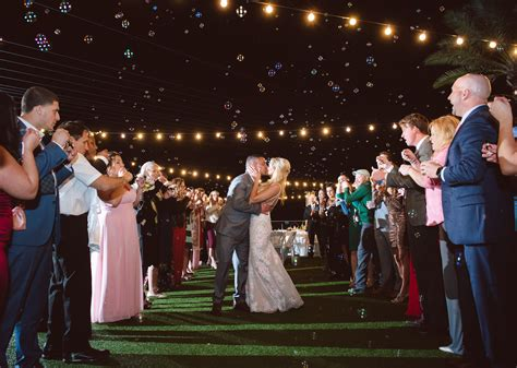 Bride and Groom Bubbles Send Off Grand Exit with Canopy