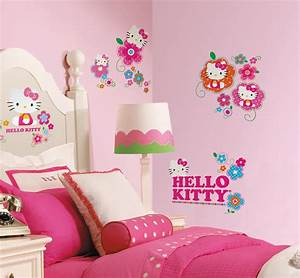 New hello kitty floral boutique wall decals girls