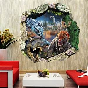 Jurassic world dinosaur cracked wall vinyl wall decals for Best 20 jurassic park wall decal