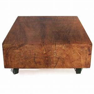 massive solid teak block coffee table at 1stdibs With solid teak wood coffee table