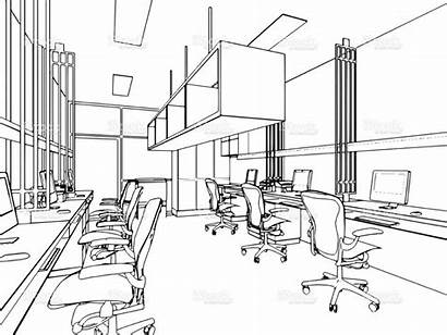 Office Commercial Sketch Furniture Interior Outline Business