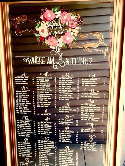 wedding mirror seating chart leaning floor mirror program timeline menu signage hand