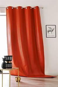 Rideau A Oeillet : rideau oeillet en simili cuir color orange noir ~ Dallasstarsshop.com Idées de Décoration