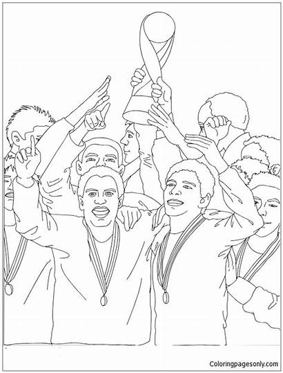 Coloring Soccer Receiving Trophy Team Pages