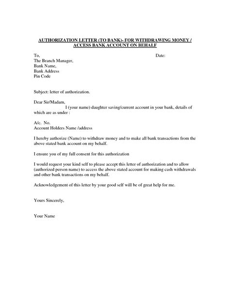 authorization letter template  car galleryformal