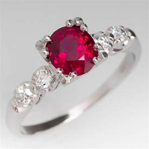 Ruby ring stunning red vintage diamond platinum for Ruby wedding band rings