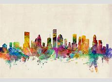 Houston Texas Skyline Digital Art by Michael Tompsett