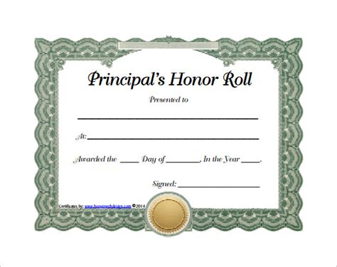 printable honor roll certificate templates samples