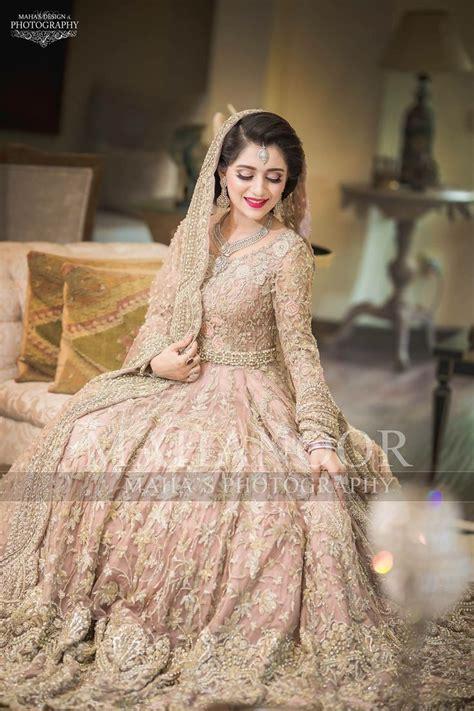 pakistani walima bridal dress  pastel pink color model