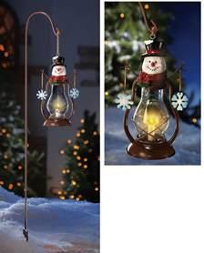solar country snowman outdoor garden lantern w hanging hook christmas decor new ebay