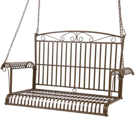 bcp iron patio hanging porch swing chair bench seat