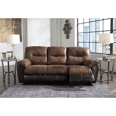 Faux Leather Recliner Sofa by Two Tone Faux Leather Reclining Sofa By Signature Design