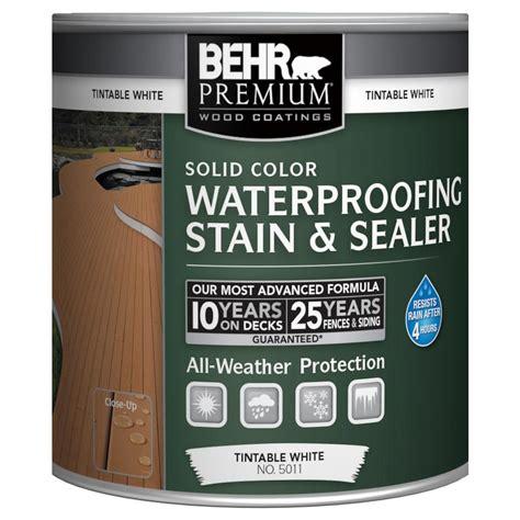 behr premium  oz white base solid color waterproofing