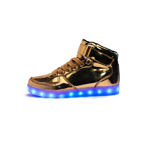high top light up shoes unisex high tops light up shoes metallic gold neonjam