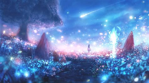 Anime Landscape Wallpaper - 2560x1440 anime landscape particles scenic