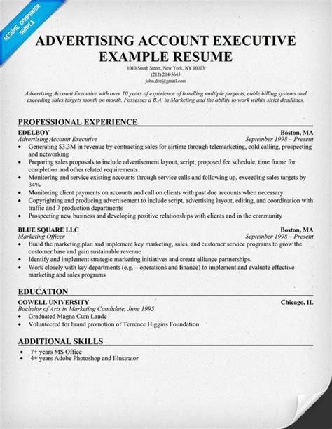 Advertising Sales Resume by Advertising Account Executive Resume Exle