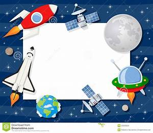 Rocket Shuttle Satellites Horizontal Frame Stock Vector ...