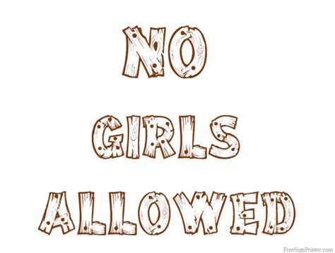 No Girls Allowed Signs Printable