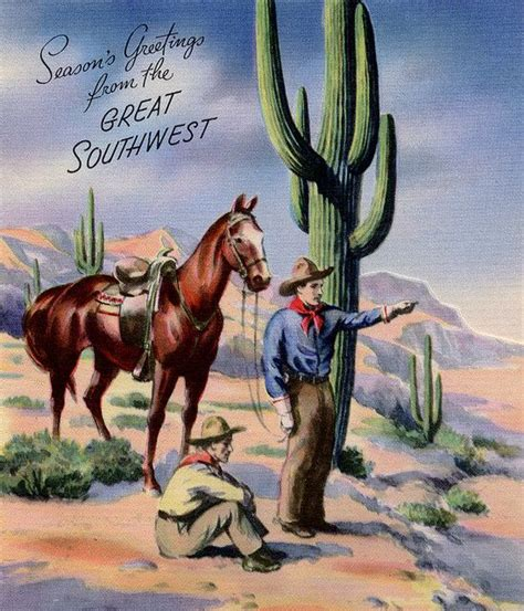 Find great designs on our high quality greeting cards. Southwest Xmas | Western christmas, Cowboy christmas, Vintage christmas cards