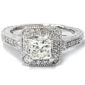 vintage engagement rings 1000 1 55ct princess cut engagement ring halo vintage antique engraved deco filigree