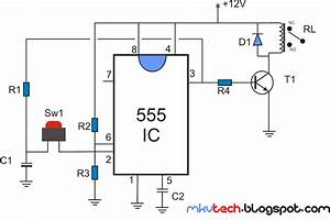 Latching Relay Using 555 Timer