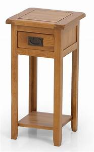 uk gardens solid oak tall wooden lamp table plant stand With 2 shelf lamp table