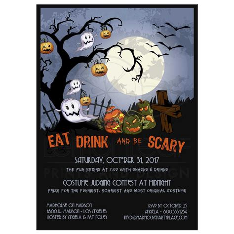 Yellow Kitchen Theme Ideas - eat drink and be scary a spooky graveyard halloween party invitation