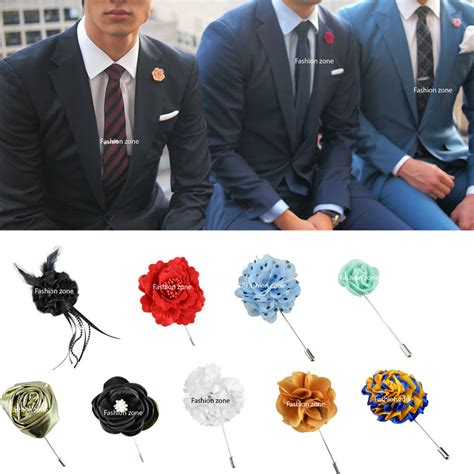 NEW Mens Corsage Boutonniere Lapel Pin Flower Wedding