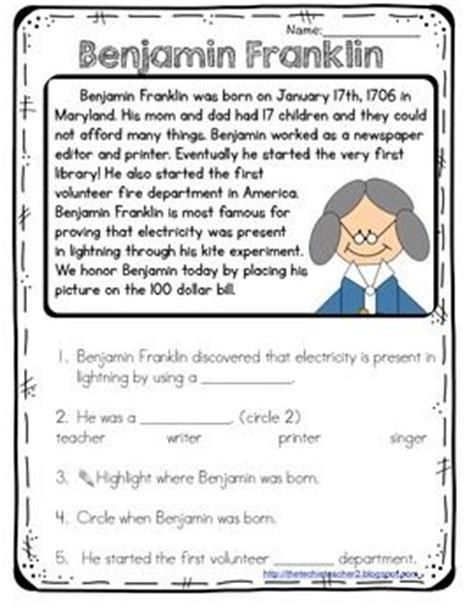 Benjamin Franklin Reading Passage  Pinterest  Comprehension Questions, Comprehension And Reading