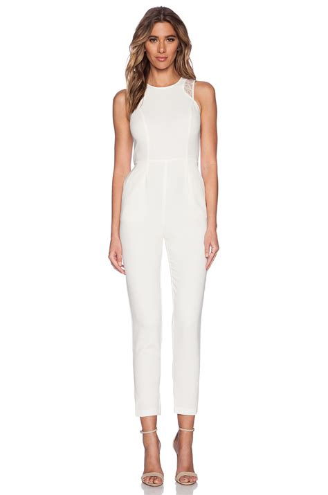 white jumpsuits for bcbgeneration sleeveless jumpsuit in white lyst