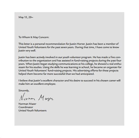personal letter formats samples examples format