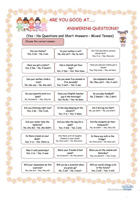 good  answering questions worksheet