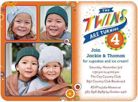 Twins Bday Invites With 3 Photos Tiny Prints Cabinet Island Over The Toilet Storage Ikea Best Kitchen Manufacturers Wood Filing Cabinets For Home Hand Painted 2 Drawer File Utilitech Under Light Dividers