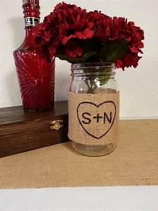 Burlap, Mason, Jar, Centerpiece, Rustic, Wedding, Decor