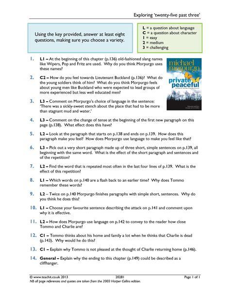 ks3 prose peaceful by michael morpurgo teachit ks3 prose peaceful by michael morpurgo teachit
