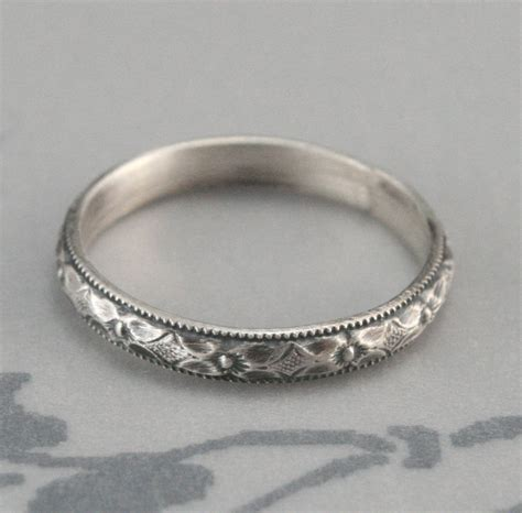 renaissance wedding band or stacking ring diamond and floral