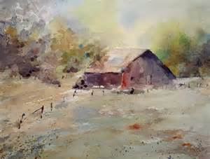 Old Barn Watercolor Painting