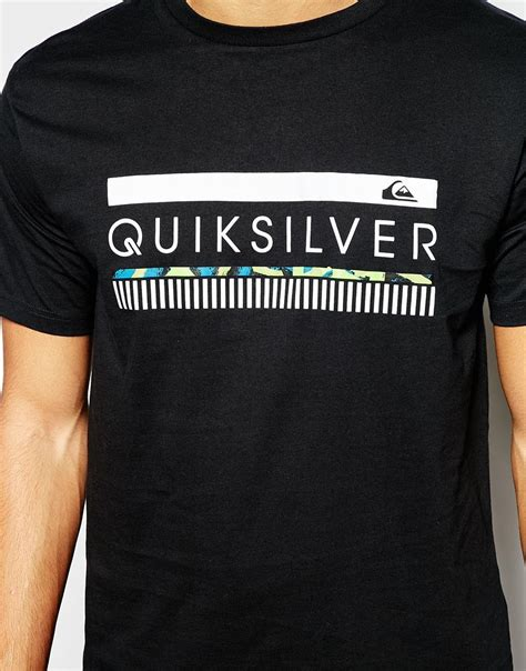 Tshirt Quiksilver Logo White lyst quiksilver t shirt with logo print in black for