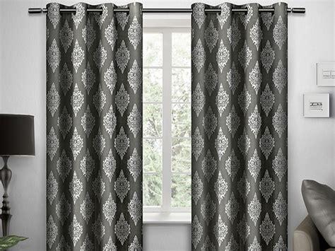 damask print grommet curtain panels