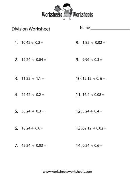 decimal division worksheet  printable educational