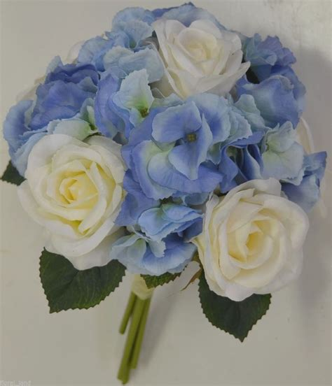 wedding flowers blue hydrangias silk wedding bouquet