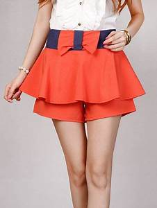 Cute Summer Bow Patch Pleated Short Skirt Pants